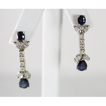 14 Kt White Gold Sapphire and Diamond Earrings