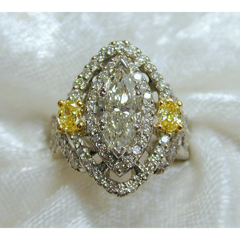 Thomas Farley Design Marquise Center Engagement Ring with Natural Yellow Diamonds