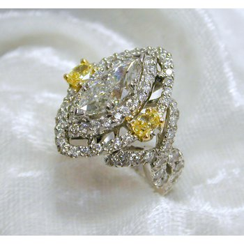 Marquise Center Engagement Ring with Natural Yellow Diamonds