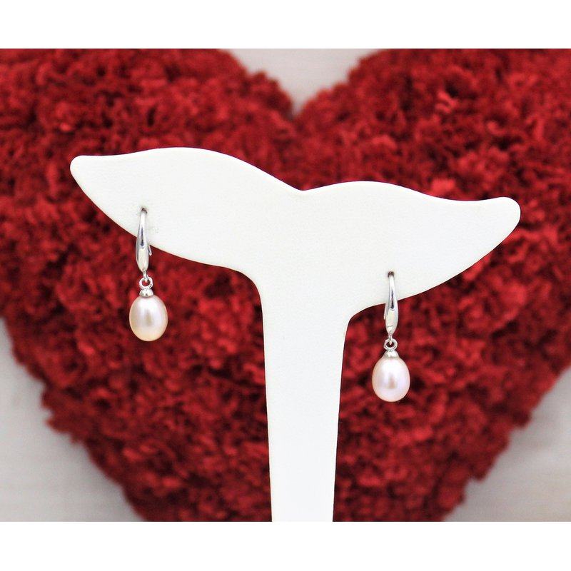 The Diamond Shop Silver Freshwater White Pearl Earrings