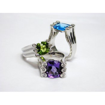 Palladium Ring with Round Diamonds and Peridot/Amethyst/Blue Topaz