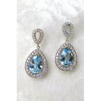 14 Kt White Gold Aquamarine and Diamond Earrings