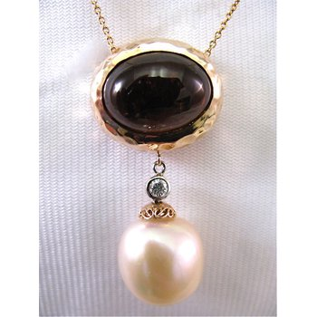 14 Kt Rose Gold Tourmaline Diamond and Pearl Necklace