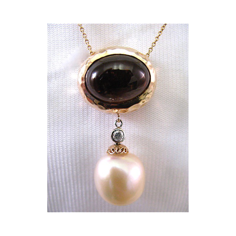 Thomas Farley Design 14 Kt Rose Gold Tourmaline Diamond and Pearl Necklace