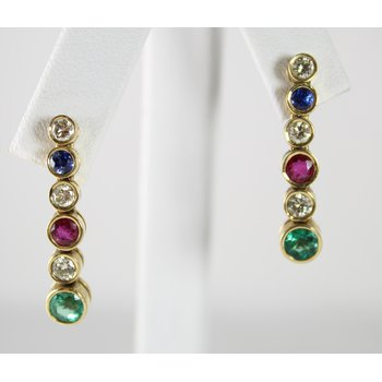 18 Kt Yellow Gold Sapphire, Emerald, Ruby, and Diamond Earings