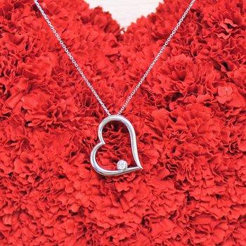 14kt White Gold Diamond Heart Necklace