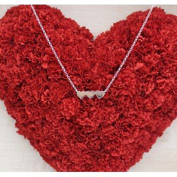 "Silver Triple Heart 18"" Necklace"