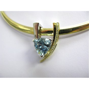 14 Kt Two-Tone Blue Topaz and Diamond Slide