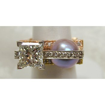 Diamond and Freshwater Pearl Tri-Color Ring