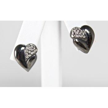14 Kt Yellow Gold Diamond Heart Earrings