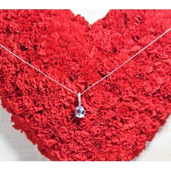 14kt White Gold Aqua and Diamond Necklace