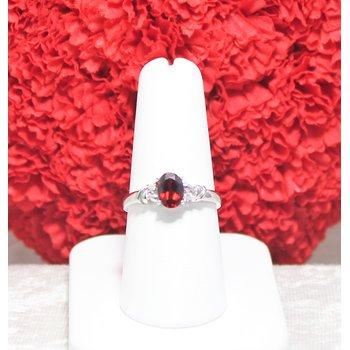 14kt White Gold Garnet and Diamond Ring
