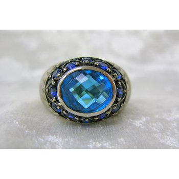Blue Topaz, Blue Sapphire, and Diamond Sterling Silver Ring