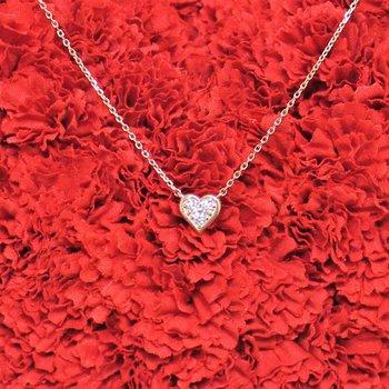 14k Rose Diamond Heart Necklace