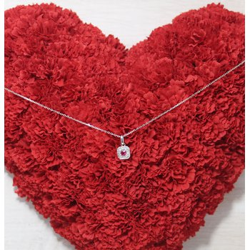 14kt White Gold Ruby and Diamond Necklace
