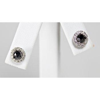 14 Kt White Gold Black & White Diamond Earrings