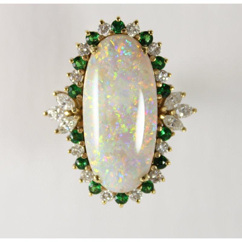 The Diamond Shop 18 Kt Yellow Gold Opal, Tsavorite, and Diamond Ring