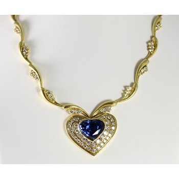18 Kt Yellow Gold Ceylon Sapphire & Diamond Necklace