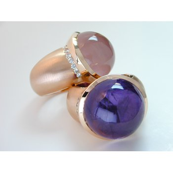 Rose Gold Cabochon Rose Quartz/Amethyst and Diamond Rings