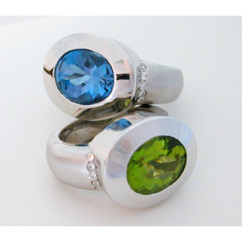 Thomas Farley Design Sterling Silver Oval Peridot/Blue Topaz and Diamond Ring