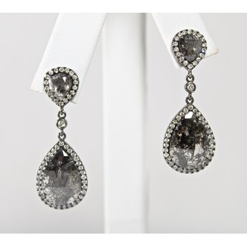 14 Kt White Gold Black Rose Cut Diamond Earrings