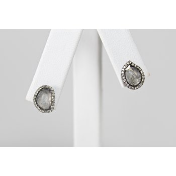 18 Kt White Gold Diamond Slice Earrings