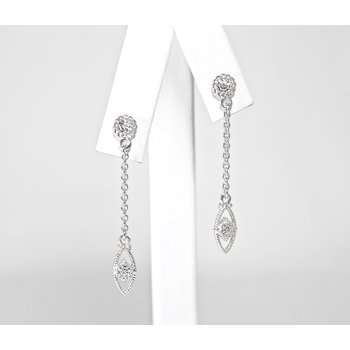 Sterling Silver & Diamond Earrings