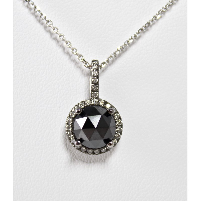 The Diamond Shop 14 Kt White Gold Black & White Diamond Necklace