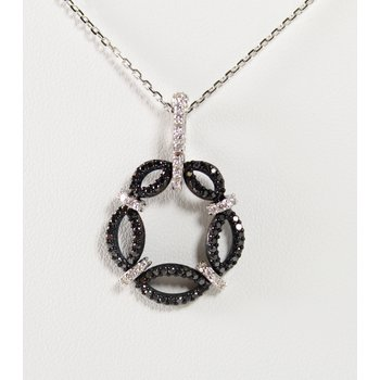 14 Kt White Gold & Silver Black and White Diamond Necklace