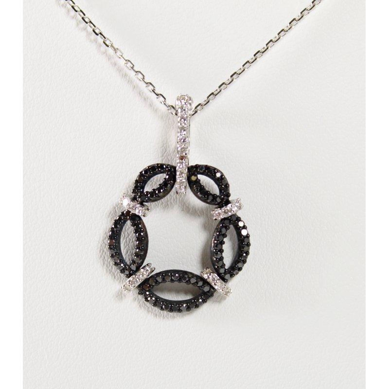 Thomas Farley Design 14 Kt White Gold & Silver Black and White Diamond Necklace