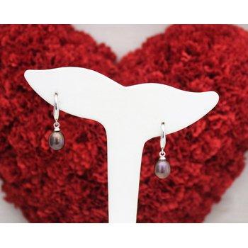 Silver Freshwater Black Pearl Earrings