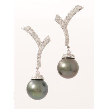 14 Kt Black Tahitian Pearl and Diamond Earrings