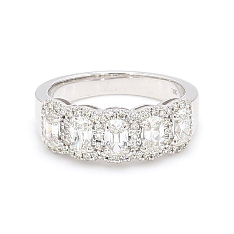 Henri Daussi 5-Stone Halo Ring