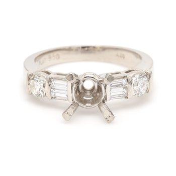 5 Stone Platinum Semi Mount Engagement Ring
