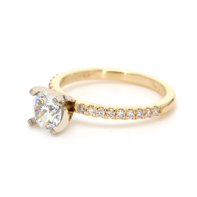 Spicer Greene Solitaire with Diamonds Semi Mount Engagement Ring