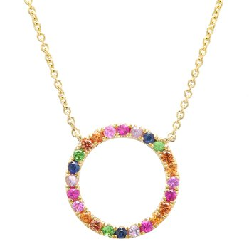 Rainbow Gemstone Circle Pendant