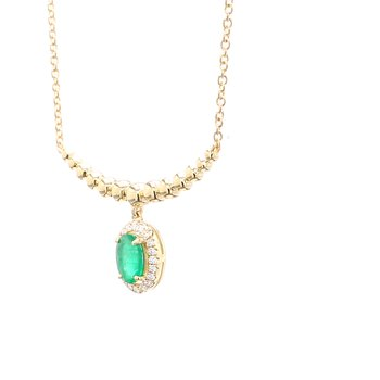 Emerald Fixed Pendant Necklace