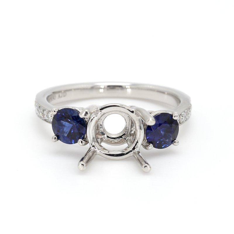 Spicer Greene 3 Stone Platinum Semi Mount Engagement Ring