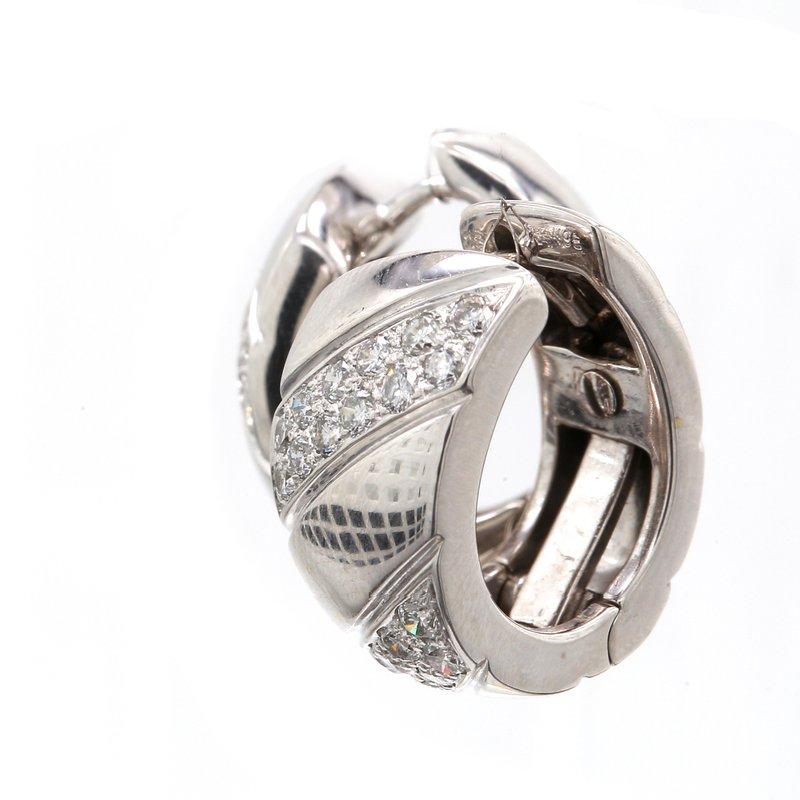 Estate Diamond Huggie Hoop Earrings