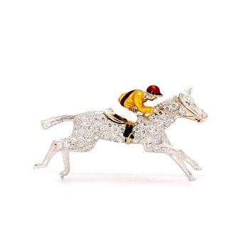 Diamond Enameled Horse and Jockey Pin