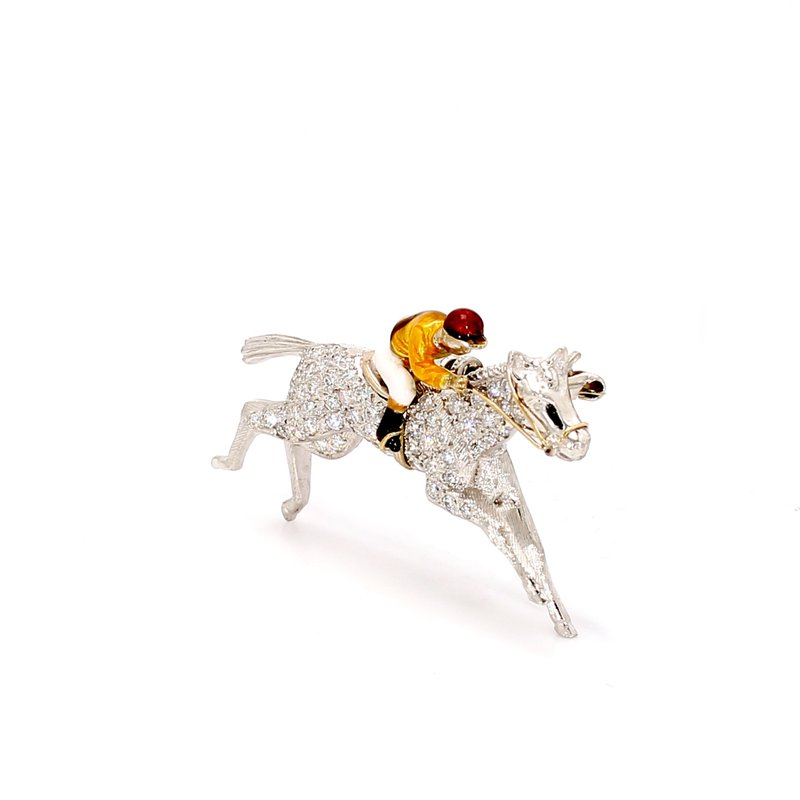 Estate Diamond Enameled Horse and Jockey Pin