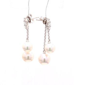 Akoya Cultured Pearl Dangle Earrings