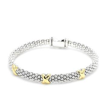 Silver & Gold Caviar Bracelet