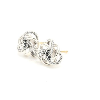 Love knot stud earrings with C