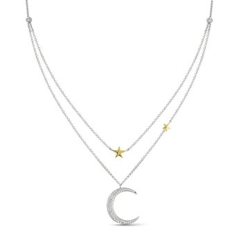 Diamond Moon & Stars Necklace