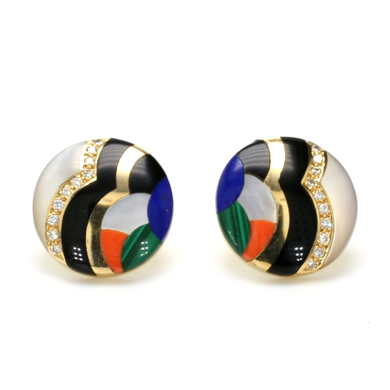 Estate Gemstone Inlay Earrings