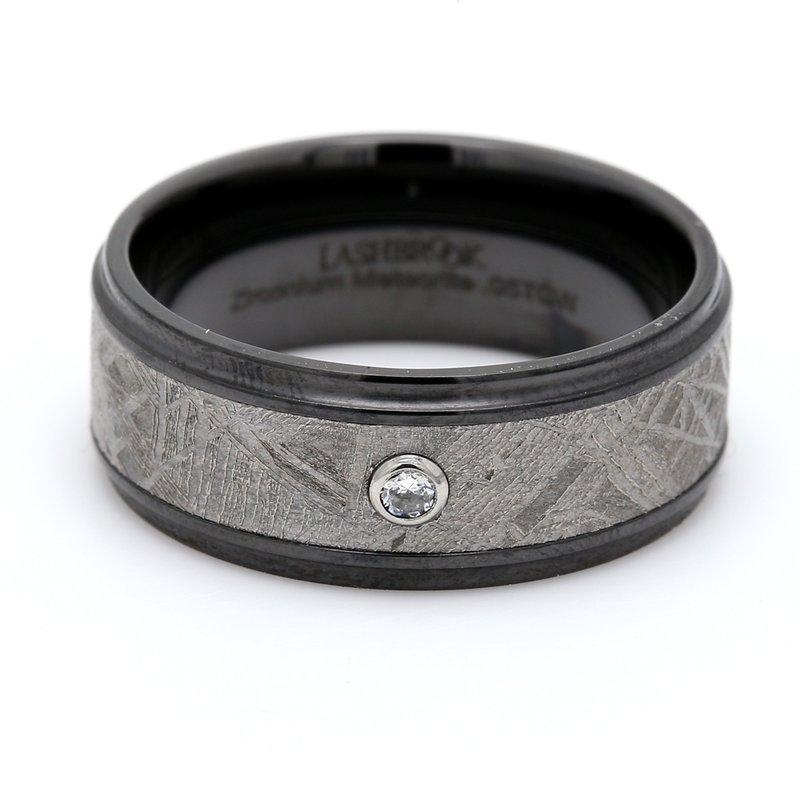 Lashbrook Designs Men's Zirconium, Meteorite & Diamond Wedding Band
