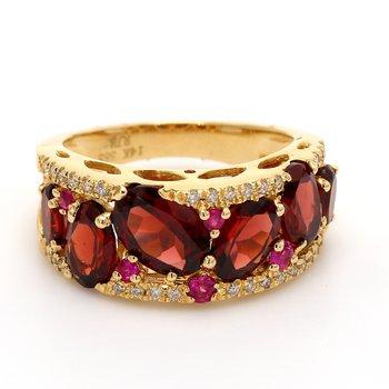 Garnet & Ruby Cluster Ring