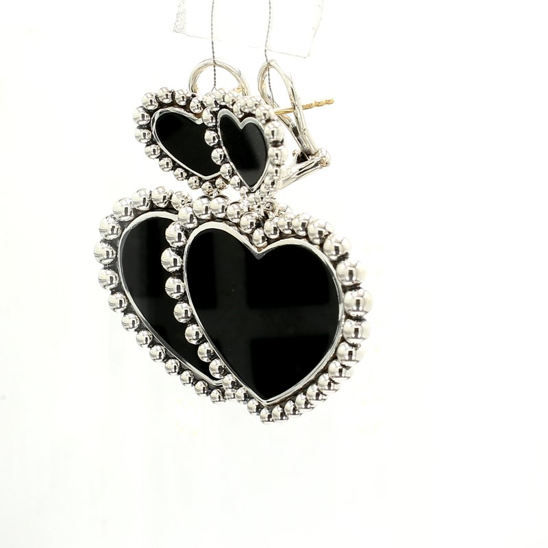 Lagos Black Onyx Heart Earrings