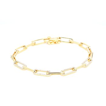Diamond Paper Clip Chain Bracelet